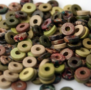 Flora and Fauna Color Mix - Greek Matte Ceramic 8mm Washer Shaped Beads - Large Holed Bead(100)