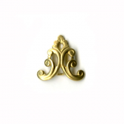Small Scroll Brass Stamping 1 ea