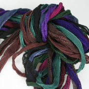 Fairy Ribbon 10 ea Deep Tones of Hand Dyed Necklace Cord
