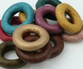 EARTH Donut Shaped Greek Matte Ceramic Beadsw 22 - 24 mm Earth-Tone Color Mix (10) Beads