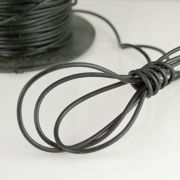 Round Greek Leather Cord - Black 1.9mm 5 yds