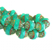 Czech Glass Cut Turbine Bead - Jade/Emerald Opal 1 Hank