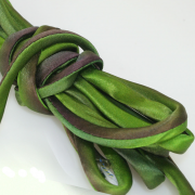 Hand Dyed Silk Cord Green w/ Purple Silk Satin 1/4 inch