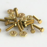 "Mini Nuts & Screws Hex Heads (Brass) 0-80 X 1/4"" 20/pk"