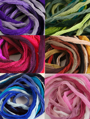 Fairy Ribbon 10 ea Make Your Own Bundle of Silk Hand Dyed Jewelry Cord