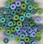 Aegean Sea Color Mix - 8mm Washer Shaped Beads - Large Holed Bead (100)