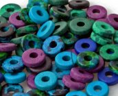Deep Sea Diver Color Mix - 8mm Washer Shaped Beads - Large Holed Bead (100)