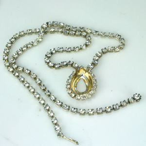 Rhinestone Necklace with Pear Setting LG