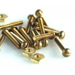 "Mini Nuts & Screws Round Head (Brass) 0-80 X 1/4"" 20/pk"