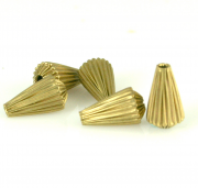 Corrugated Brass Pear Bead 12 x 7mm 12/pk