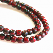 Czech Glass 3mm Round Druk Bead - Red Picasso 1 Hank