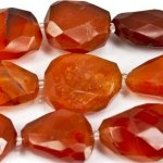 Carnelian Faceted Nugget Beads, approx15mm, 4-5 ea