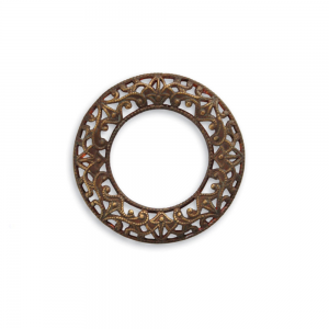 Vintaj Aged Brass 28mm Scrolled Filigree Ring 1ea DR30