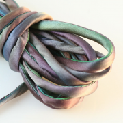 Hand Dyed Silk Cord Ocean Blue/Green Silk Satin 1/4 inch