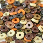 Dark Earth Color Mix - 8mm Washer Shaped Beads - Large Holed Bead (100)