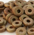 Antique Gold 8mm Washer Greek Matte Ceramic Beads (50)