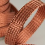 "Woven Copper Braid 1/2"" by the foot"