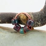 Enameled Shorty Beads - Copper Green