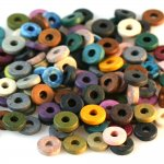 100 EARTH Color Mix - Greek Matte Ceramic 8mm Washer Shaped Beads