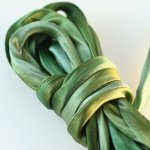 Hand Dyed Silk Cord Mossy Green Silk Satin 1/4 inch