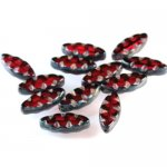 Czech Glass Cut and Engraved Window - Ruby 12/pk