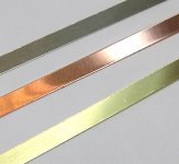 "Brass Bezel Strip, 24 gauge, 1/8"" x 12 inch"