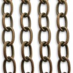 Vintaj 7mm Etched Link Brass Cable Chain CH30