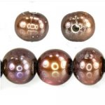 Large Hole Coco/Bronze Baroque Side Drilled Freshwater Pearls, 9-10mm, 6 pearls