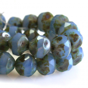 Czech Glass Cut 8mm Bead - Opal Cornflower Picasso 1 Hank