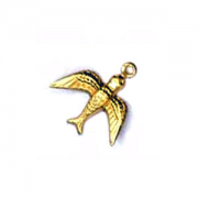 Swallow Charm, Raw Brass, PK/2