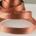 "Woven Copper Braid 3/8"" by the foot"